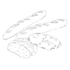 Hand drawing illustration of different breads . Isolated sketch bread