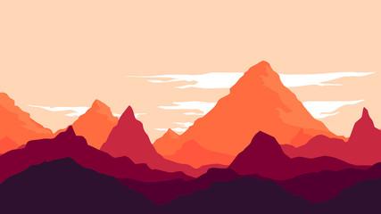 Mountain Under Sunset