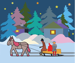 Winter evening Christmas a vehicle with a horse