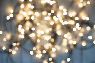 Yellow holiday bokeh. Abstract Christmas background.