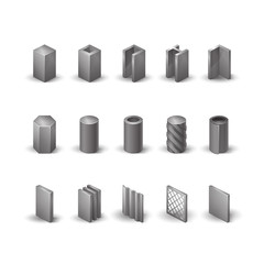 Metallurgy products vector realistic icons set. Detailed objects. Steel structure and pipe.