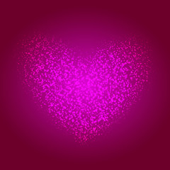 the st. valentine day background with shining heart on center in