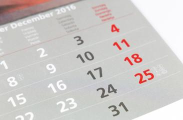 Weihnachten 2016 (Konzept Kalender)