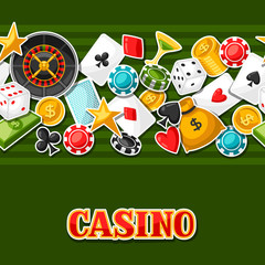 Casino gambling seamless pattern with game sticker objects