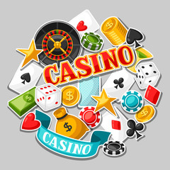 Casino gambling background design with game sticker objects