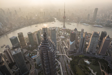 Aluminium Prints Shanghai Shanghai, China cityscape overlooking the Financial District and Huangpu River, Shanghai China