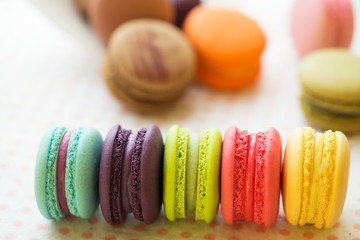 Sweet and colourful french macaroons or macaron background