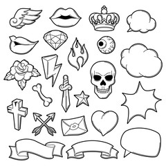 Set of retro tattoo symbols. Cartoon old school illustration