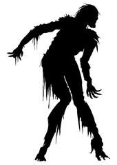 Rotten zombie silhouette. Illustration zombie in ragged clothes