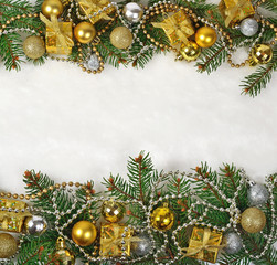 Christmas decorations on a spruce branch