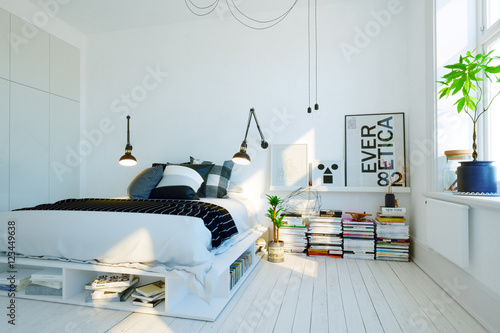 modernes skandinavisches schlafzimmer modern swedish scandinavian style bedroom zdj. Black Bedroom Furniture Sets. Home Design Ideas