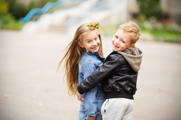 Portrait of a happy children - boy and girl