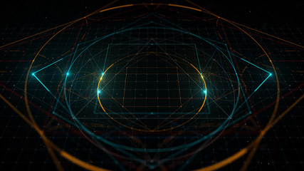 3d rendering illustration. Abstract digital background with hight detailed elements. Geometry lines with dashes and glow.