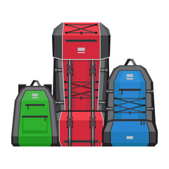 Three hiking backpacks. Vector illustration, flat style.