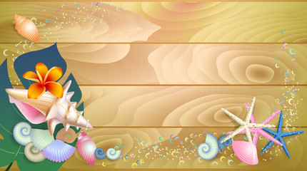 summer poster with a flower, palm leaf, starfishes, shells on w