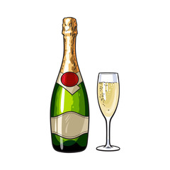 Champagne bottle and glass, sketch style vector illustrations isolated on white background. Closed champagne bottle and glass full of champagne, holiday celebration