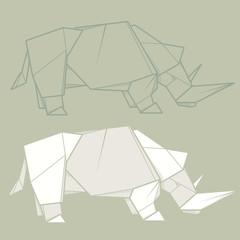 Set illustration paper origami of rhinoceros.