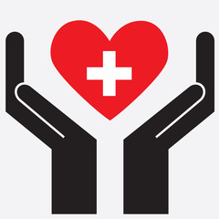 Hand showing Switzerland flag in a heart shape. Vector illustration.