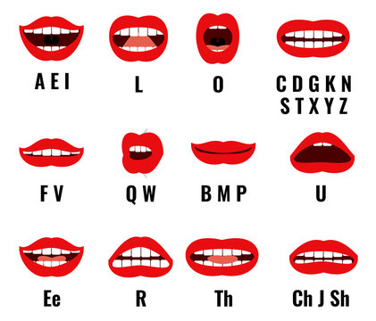 Cartoon character mouth and lips sync for sound pronunciation. Vector set animation frames