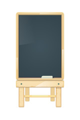 Vector blank menu board, blackboard in wooden frame.