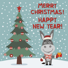 Merry Christmas and Happy New year! Funny donkey with gift near Christmas tree. Card in cartoon style.