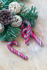 Christmas decorations and candy canes