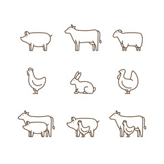 Farm animal outline icon set. Pig, cow, lamb, chicken, turkey, rabbit. Icon for butcher shop. Vector illustration.