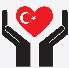 Hand showing Turkey flag in a heart shape. Vector illustration.