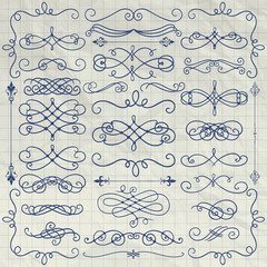 Vintage Pen Drawing Swirls Collection on Crumpled Paper