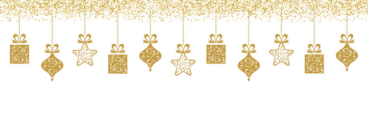 Golden Hanging Christmas Decoration with Glitter Sparkle
