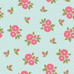 Shabby chic polka dot flora vintage pattern