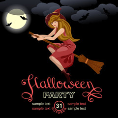 Halloween party invitation card.  Design template with Witch Flying on a Broomstick and place for text. Isolated background.