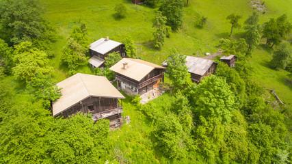 Luftaufnahme, Almhütte, Sommer, Alpen, Österreich