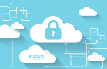Web cloud technology. Protection concept. System privacy, vector