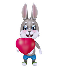 Cute happy cartoon rabbit holding a heart. 3D illustration