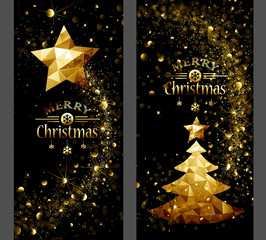 Christmas card with gold star and trees Low Poly