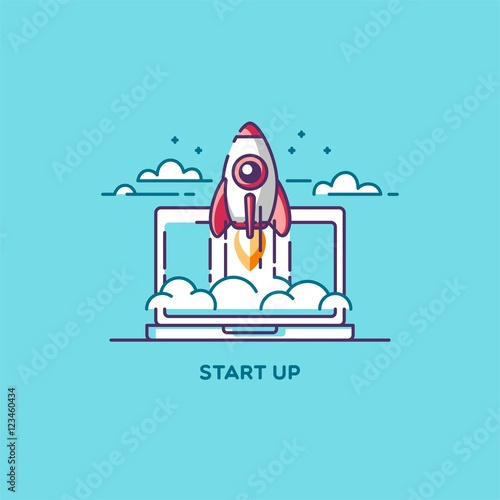 Start up line flat design vector illustration concept of for How to start a home decor line