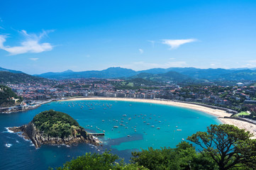 Panoramic view on La Concha San Sebastian - Spain, The Basque Country