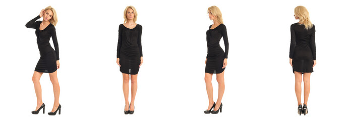 Beautiful blonde woman in black dress isolated on white
