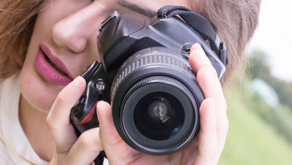 Beutiful Girl Posing With Digital Camera