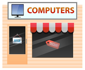 Computer shop vector image
