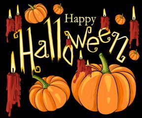 Halloween set, drawn Halloween symbols pumpkin border for design message design background, vector illustration