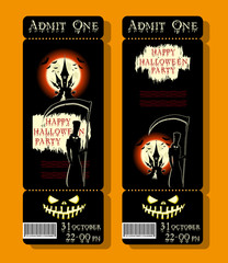 Set of Happy Halloween ticket or flyer on holiday party with figure death, pumpkin, scary castle and monster bats on dramatic moon background. Bloody letters. Cartoon style. Vector illustration