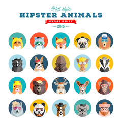 Flat Style Hipster Animals Avatar Vector Icon Set for Social Media or Web Site. Fauna Portraits. Mammals Faces.