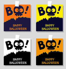 Set of funny holiday banner: title Boo from slull sleleton and Happy Halloween from bones letters. Vector illustration in cartoon style. Concept design poster, flyer or ticket on party.