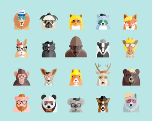 Flat Style Hipster Animals Avatar Vector Portraits or Icon Set for Social Media, Web Sites, etc.
