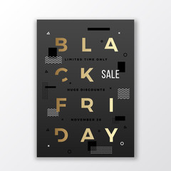 Black Friday Swiss Style Typography Poster or Flyer. Gold Modern Concept. Abstract Elements with Soft Realistic Shadow.