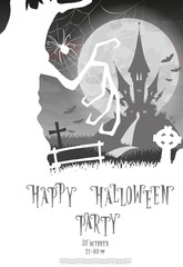 Halloween background. Silhouette scary monsters trees on old cemetery backdrop moon, bats and graves. Concept for banner, poster, flyer, cards or invites on party. Cartoon style. Vector illustration