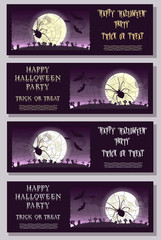 Set of Happy Halloween banner or flyer on holiday party with scary large spider, big moon and monster bats on gradient background. Bloody letters. Cartoon style. Vector illustration