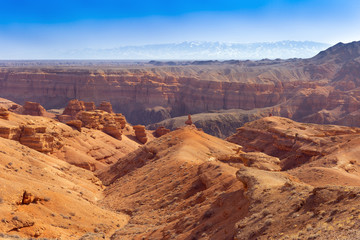 Charyn canyon in Almaty region of Kazakhstan. Beautiful view of the canyon from the observation deck upstairs